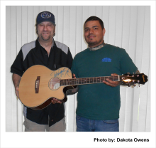 Eric Kinkel, Jeremy Renteria, Ted Nugent Autographed guitar gift from Eric to Jeremy