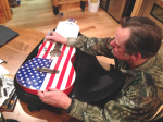 Ted Nugent autographs USA Flag guitar from Eric Kinkel's collection, donated to Liv's Hunt For A Cure Chairty